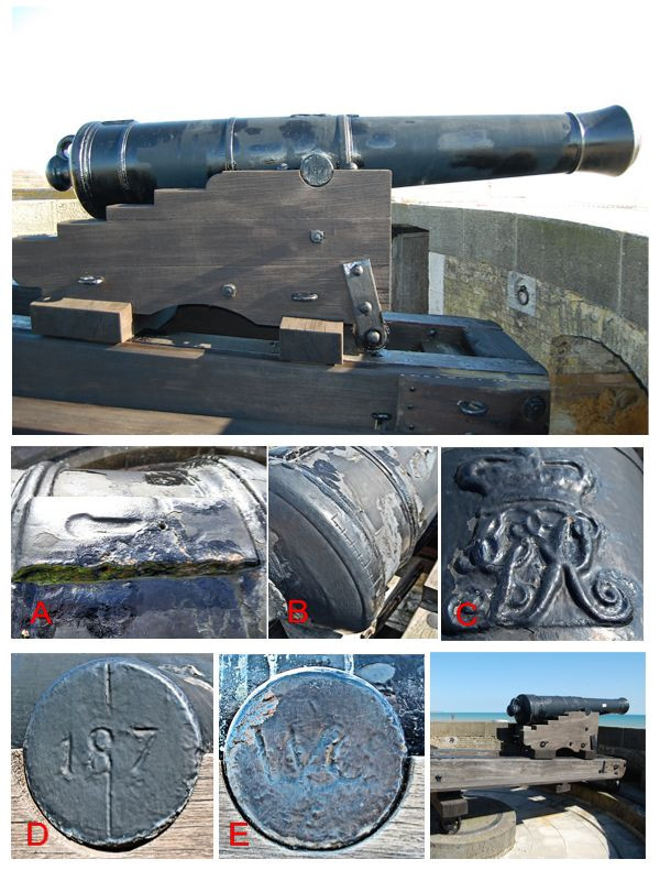 Markings on a 24 pounder cannon