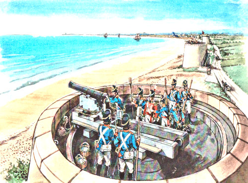 Picture of soldiers working the cannon